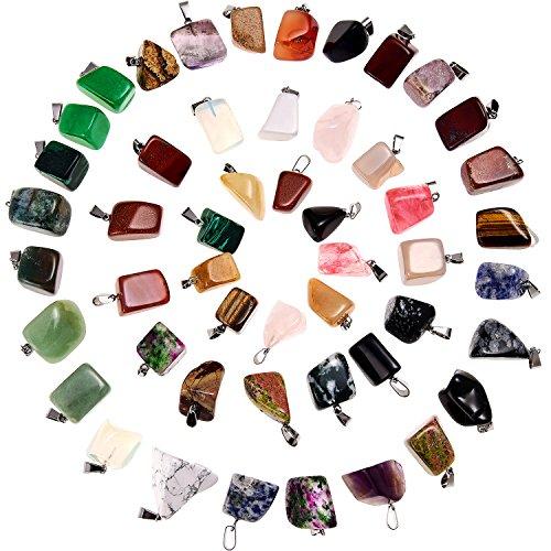 3a9cffa6b7a4 50 Piezas de Colgante de Piedra de Cristal Abalorios de Piedra de Curación  Irregular Mezclados Dijes
