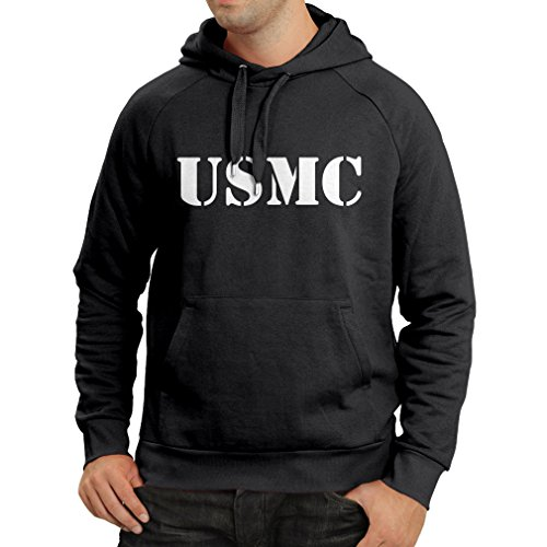lepni.me Kapuzenpullover USMC Emblem, Marine Corps, Marines Logo, US Navy Armed Forces (XX-Large Schwarz Weiß) -