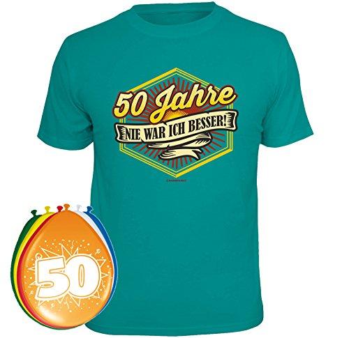 T-Shirt 50 Jahre nie war ich besser Größe M und 8 Luftballons (T-shirt Ein Besseres)