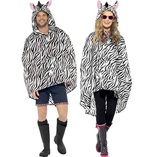 PARTY DISCOUNT NEU Party-Poncho, Zebra, Einheitsgröße, 1 Stück (Einfache Zebra Kostüm)