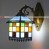 Tsqqst Europäische Spiegelfrontlampe, Amerikanisches Led Badezimmerwaschbecken, Make-Uptabelle, Badezimmerspiegellampe, Bettseitengalerie-Wandbeleuchtung, Einzelner Kopf Blaue Legierung