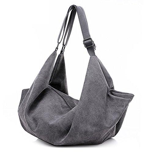Ladies singola borsa a tracolla,borsa di tela,messenger bag,borsa a tracolla doppia-grigio grigio