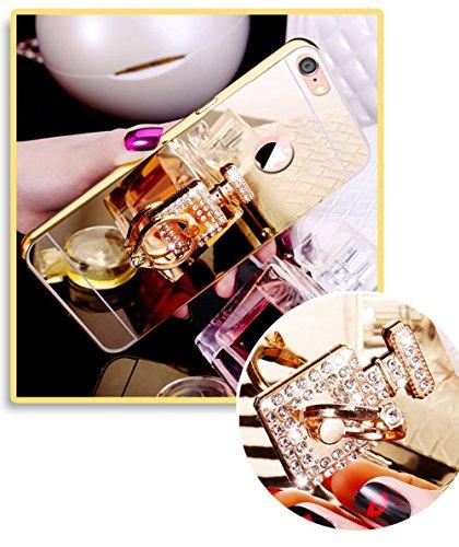 Etsue Glitzer Schutzhülle für iPhone 7/iPhone 8 Strass Diamant Spiegel Handyhülle Hardcase Hartschale Metall Case Cover Handyhülle Hülle, Handmade Glänzend Glitzer Spiegel Hülle Mirror Case Ultra Slim Parfümflasche Gold