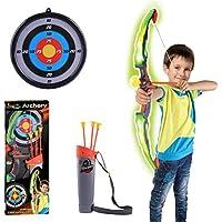 Mecotech Arcos y Flechas Con LED 6 Piezas Set Arco Flechas Juego de Disparos de Juguete para Niños