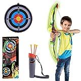 TENGER arco e freccia per bambini, Arco bersaglio tiro con l' arco Allenamento giocattolo per bambini SQUADRE gioco regalo con freccette e destinazione Volti, verde, 62*14*5cm