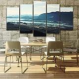 HXZFF Bilder 200x100 cm - Leinwandbilder - Kein Rahmen - Vlies Leinwand - 5 Teilig - Wandbilder - Kunstdrucke - Wandbild - Weit Berg