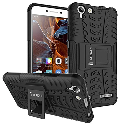 TARKAN Hard Armor Hybrid Rubber Bumper Flip Stand Rugged Back Case Cover For Lenovo Vibe K5 / K5 Plus [Black]