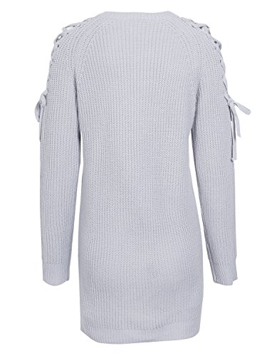simplee women's v cou vider lace long manche pull - over pull jumper Gris