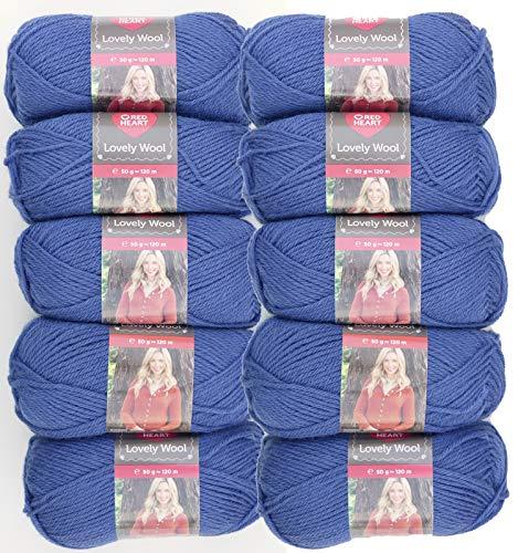 Red Heart Lovely Wool, Fb.6169 Jeans blau, 500g Wollpaket zum Stricken oder Häkeln