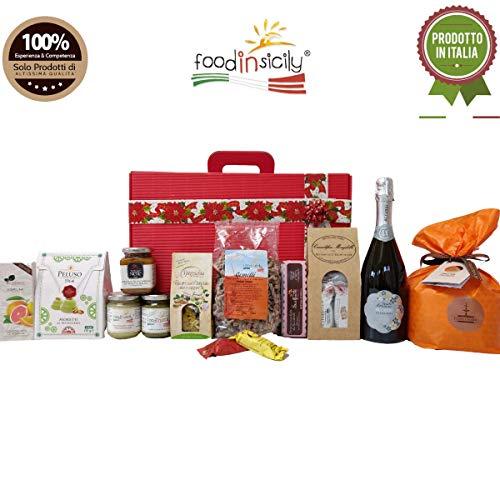Scatola regalo natalizia taormina | 12 regali di natale siciliani | con panettone fiasconaro | crema di pistacchio | spumante grillo extra dry | cesti natalizi alimentari | idee regalo natale 2019