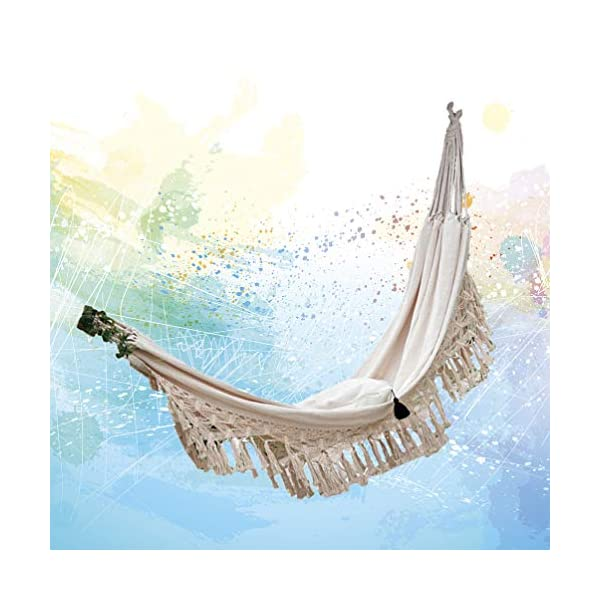 DOITOOL Hammock Boho Tassel Double Hammock Two Person Bed for Backyard Porch Outdoor Indoor DOITOOL Lightweight, easy to carry and use. Perfect for relaxing yourself during outdoor activities, such as camping, traveling, backpacking, etc. Made of high quality material, durable and safe to use. 9
