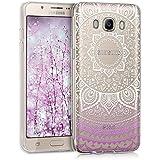 kwmobile Funda TPU silicona transparente para Samsung Galaxy J5 (2016) en violeta blanco transparente Diseño sol indio