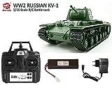 MODELTRONIC Tanque Radio Control 1/16 Russia Kliment Voroshilov KV-1 Heng Long 3878-1 / Nueva emisora 2.4G 5.3v / Batería LIPO/con Sonido, Bolas 6mm Airsoft y expulsa Humo/Tanque teledirigido