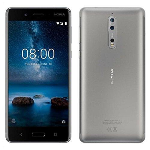 """Nokia 8 - Smartphone DE 5.3"""" (Qualcomm Snapdragon 835, Octa Core, 4 GB de RAM, Memoria Interna DE 64 GB, Android 7.1.1 Nougat) Plata"""