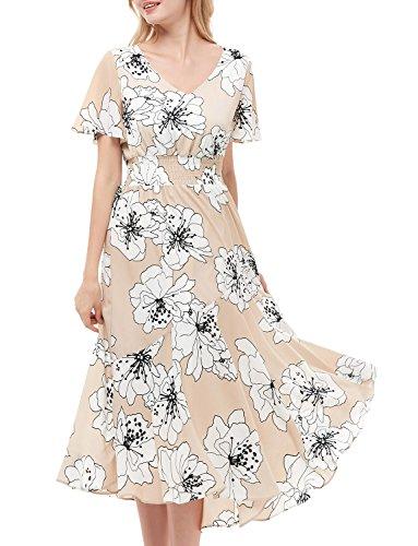 GardenWed Damen Sommerkleider Chiffon V-Ausschnitt Blumen Strandkleider Abendkleid Partykleid...