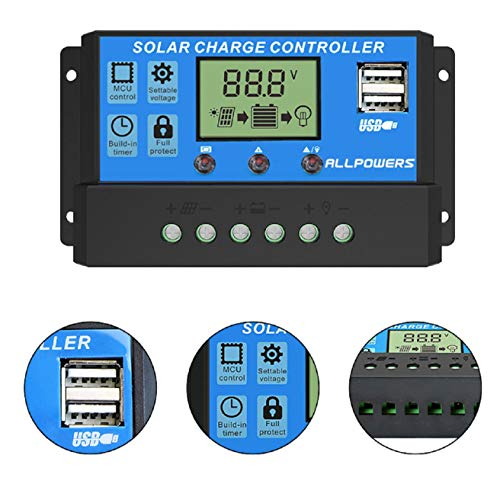 Nicolarisin ALLPOWERS 12V / 24V Solarladeregler Solarbatterie Intelligenter Regler Überlastung und Kurzschluss Schutz vor Blitzeinschlag