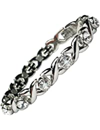 MPS® Ladies Magnetic Bracelet With Fold Over Clasp - Natural Pain Relief For Arthritis + FREE Links Removal Tool