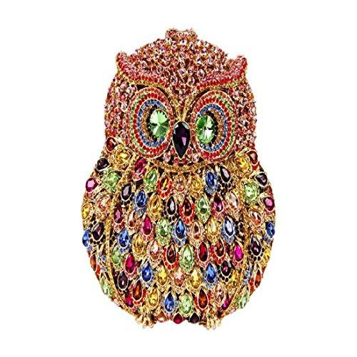 YILONGSHENG Donne Gufo di Bling frizione borsa lusso strass cristallo frizione borse da sera Clutch Bags (Bright Colorful