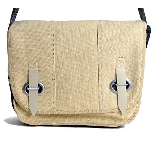HAB & GUT (E3022A-O) Big bag-PROVOKED, messenger en toile canvas avec fermeture œillet et sangle beige 35 x 30 cm