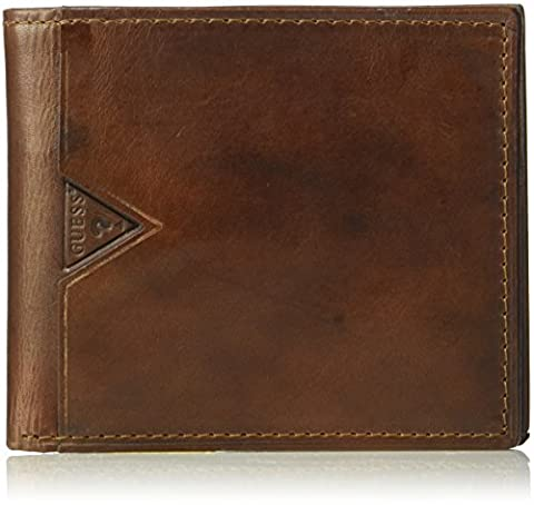 GUESS mens Leather Billfold Wallet With Zippered Cash Pocket Wallet  - Brown -