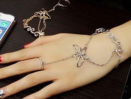 Quaste Diamant Armband Palm Finger Ring Hand Handgelenk Kette Butterfly Style Hand Geschirr Armreif Slave Kette Link Finger Ring Armband (Slave-armbänder)