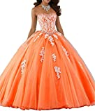 ANJURUISI Frauen Schatz Spitze Applique T¨¹ll Ballkleid Quinceanera Kleid Orange-UK6