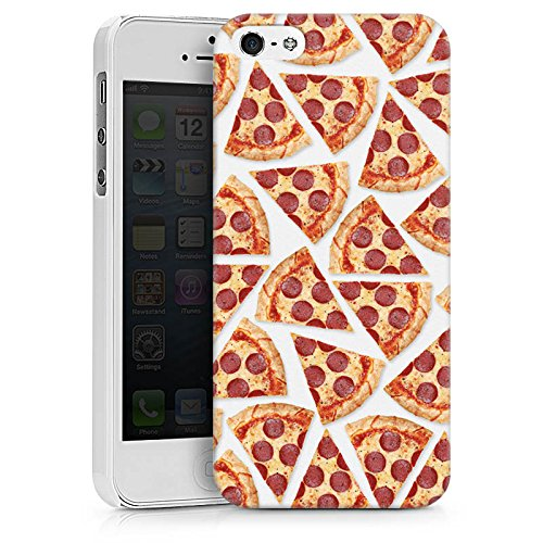 Apple iPhone 5c Silikon Hülle Case Schutzhülle Pizza Fast Food Stücke Hard Case weiß