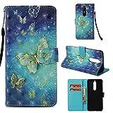 Casefirst Nokia 5.1 PU Leder Tasche Handycover [Kartenfach] [Standfunktion] Ultra Dünn Flip Case Schutzhülle Slim Ledertasche Schutzhülle für Nokia 5.1 (Goldener Schmetterling)