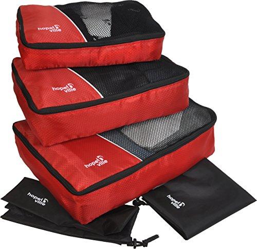 HOPEVILLE Kleidertaschen-Set 5-teilig, mit 3 Koffertaschen - Plus einem Wäschebeutel und einem Schuhbeutel, Premium Packing Cubes für perfekt organisiertes Reisegepäck (Rot) -