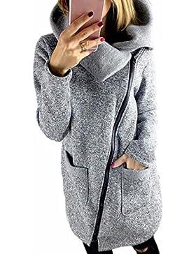QIYUN.Z Invierno al Aire Libre Lado Cremallera Abrigo Chaqueta de las Mujeres