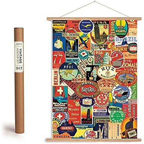Conjunto del cartel de la vendimia con listones de madera (estructura) y cordón para el hanging, motif