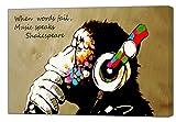 Banksy DJ Gorilla - Stampa su tela incorniciata, decorazione da parete per la casa e il caffè, Tela in tessuto, 24'' x 20''inch(60x 50 cm) - 18mm depth