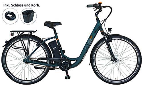 "PROPHETE E-Bike Alu-City 28\"" GENIESSER e8.6 | dunkelgrün | inkl. Schloss + Korb | 250 W | Vorderradmotor | 36 V | Anfahrhilfe | Samsung Akku 10,4 Ah | Reichweite ca. 100 km | Elektrofahrrad"