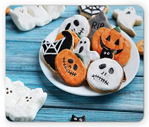 use Pad, Funny Fresh Halloween Gingerbread Cookies and Holiday Desserts on Wooden Table, Standard Size Rectangle Non-Slip Rubber Mousepad, Multicolor ()