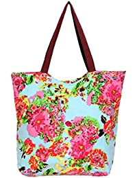Indistar Women's Handmade Ethnic Cotton Printed Tote Hand Bag_Pink_18X18 Inches