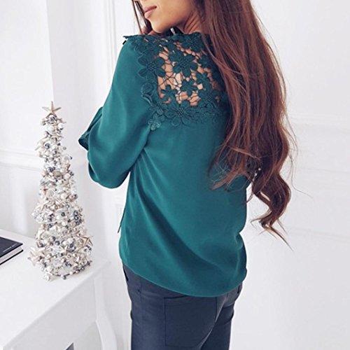 Chemise Femme,Manadlian Tuniques Femme Tops T-Shirt Blouse Dentelle Splicing Mode O-Cou Tops À Manches Longues Vert