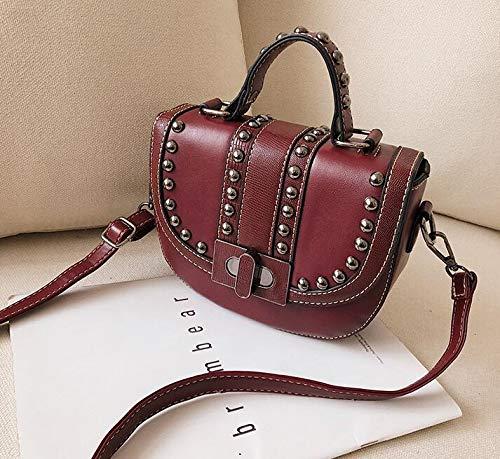 9d66b56b1072 DJBMENG Vintage Fashion Saddle Bag 2019 PU Leather Women's Designer Luxury  Handbag Rivet Tote Shoulder Messenger Bags 19 X 6 X 15 Cm Red