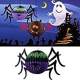 Tutoy Halloween Divertente incandescente Lanterna di Carta Ragno con LED Candela Yard Decor