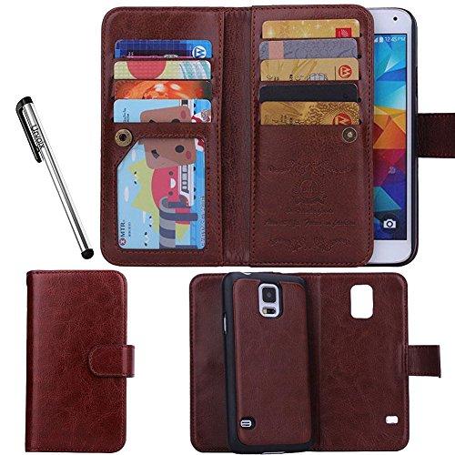 Galleria fotografica Per Samsung Galaxy S5, Urvoix (TM)-Custodia Flip a portafoglio in pelle con porta carte di credito, 2 in 1, Cover magnetica removibile, per Samsung G900 Galaxy S5