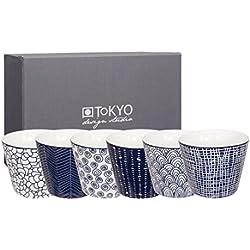 Tokyo Design Studio Le Bleu de Nîmes 6-er Set Tassen ohne Henkel. Jede Kaffeetasse / Teetasse fasst 180 ml. Aus hochwertigem Porzellan. In schöner Geschenkbox. Spülmaschinenfest. Mikrowellengeeignet.