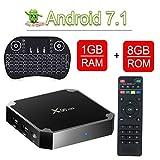 X96 Mini Android 7.1 4K Mini/Dispositivo Streaming per TV con Amlogic S905W,Video 4K UHD H.265, (1+8GB) 2 Porte USB, HDMI, WiFi Web TV Box,tastiera perfetta per