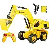 LJSHU per Bambini in Lega di Ricarica Telecomando Escavatore a 6 canali Full-Optional Kid Giocare Attrezzature,B