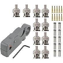 Eagles 10pcs Conectores BNC macho Conector crimpadora para cable coaxial RG59 de cámara CCTV + 1pcs