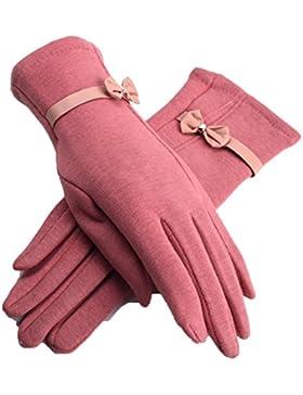 LYJBIK Rojo De La Pantalla Táctil De Cuero Algodón Elástico Frío-caliente Dedos GUANTES
