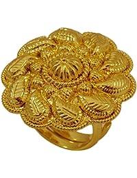 Matra 18k goldplated traditionnel ajustable bague de fête de mariage bague indienne bijoux ethniques