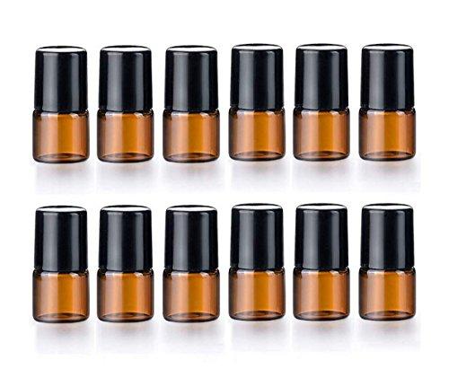 12 Stück ätherisches Öl Glas Roller Flaschen Mini Tiny nachfüllbar leere Parfüm Flüssigkeit Braunglasrolle auf Fläschchen (2ml) -
