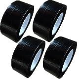 4 Rollen schwarzes Profi Gewebeband 50 m x 48 mm 'Ultra Strong' (4 Rollen je 50m x 48 mm, schwarz)