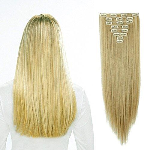 58cm extension clip sintetiche capelli lunghi lisci biondi 8 fasce con 18 clips full head 140g (biondo cenere mix biondo chiarissimo)