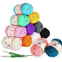 ilauke 12x50g Pelotes de Laine en Acrylique Multicolores avec 2 Crochets  pour Crochet de Fil à 9c2a88fadd9