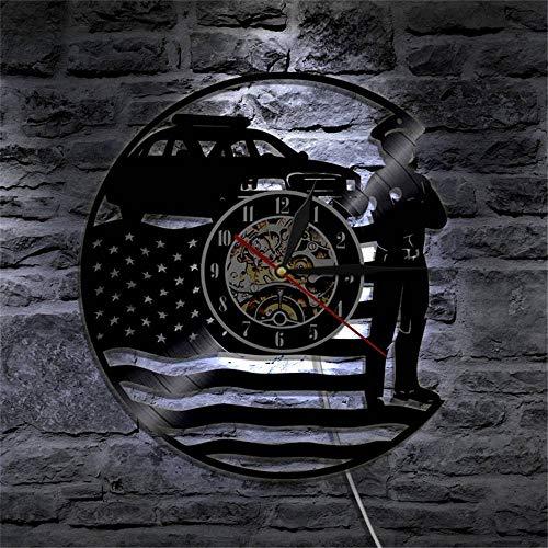 Rjjrr Usa Polizist Vinyl Uhr Wand Batteriebetriebenes Nachtlicht Led Mit Fernbedienung Lampe Sieben Farben Ändern Stille Wohnkultur-LED -